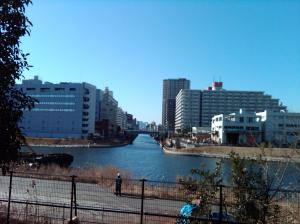 Site of the old Nakagawa Waterway Station, across the water on the right bank