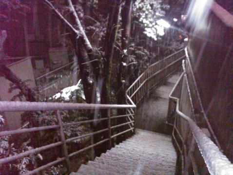 Tokyo snow Atago shrine hill stairs