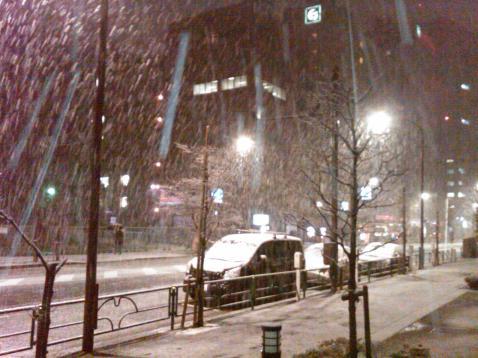 Tokyo snow street night 1