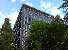 Solar panels on the Environmental Energy Innovation Building, at the Tokyo Institute Technology in Tokyo (Ookayama campus).