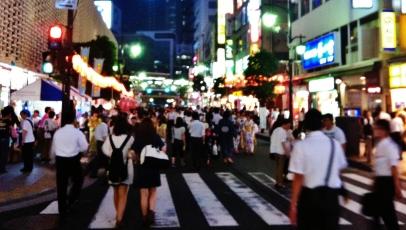 Hot night in Shimbashi 1 street