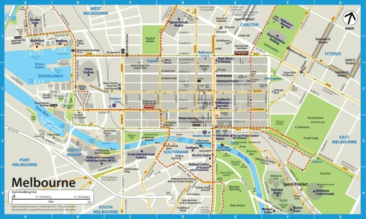 Melbourne Australia CBD downtown tourist tram map