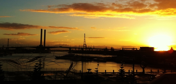 Melbourne Harbor docklands sunset