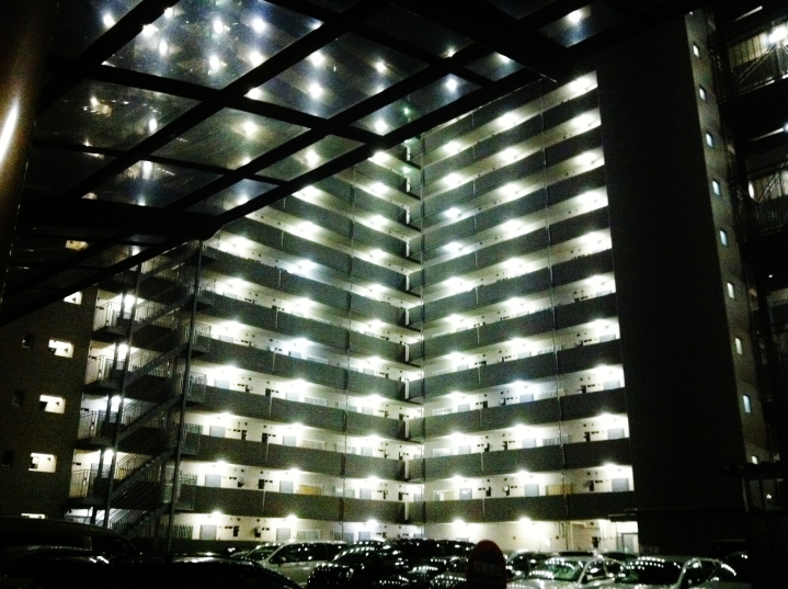 Omorikaigan apartment at night