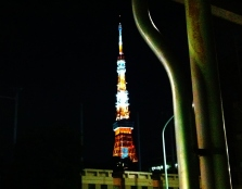 Tokyo Tower, as seen from the street at night.