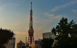 Tokyo Tower in the early morning haze, from the Kamiyacho area.