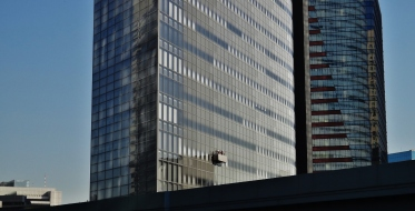 11. Dentsu building window washers sunny