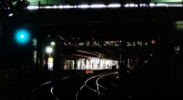 8. Bright train platform in darkness