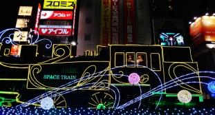 Shimbashi station train christmas lights santa