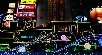 Shimbashi station train christmas lights santa