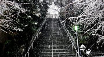 12 - Atago shrine stairs snow Tokyo