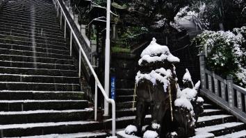 8 - Atago shrine stairs statue snow
