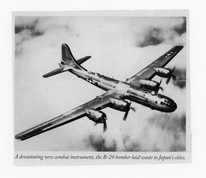 B-29 bomber in air clouds Japan