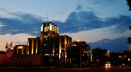 Niagara Mohawk Building dusk far