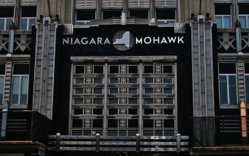 Detail of Niagara Mohawk Building, Syracuse, New York.