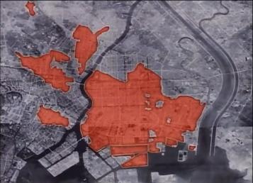Tokyo air-raids, firebombing damage map.
