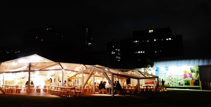 A beer garden atmosphere