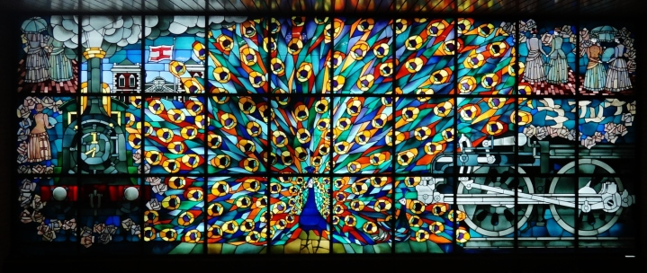 Shimbashi station stained glass peacock