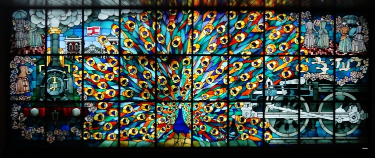 Shimbashi japanese train station stained glass peacock