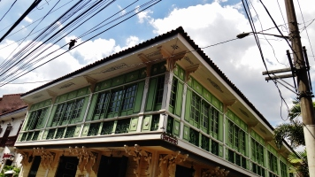 Manila Intramuros green Spanish wood building