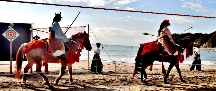 25. Yabusame Zushi beach procession horses