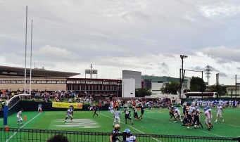 American footbal in Japan end-zone pass