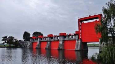 Arakawa red sluice gate open