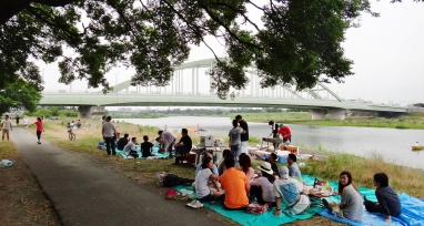 Noborito picnic Tamagawa green bridge