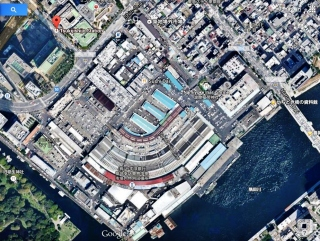 Tsukiji fish market aerial view map