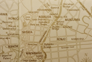 Map of Yoshiwara and Sanya, Tokyo, after 1923.