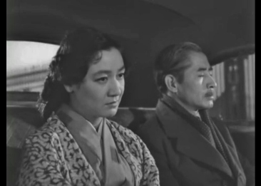 "Somber car scene from ""Sound of the Mountain"" (1954), with Setsuko Hara."