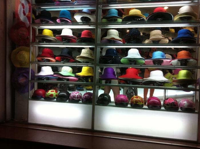 Hanoi Vietnam luxury hat shop at night