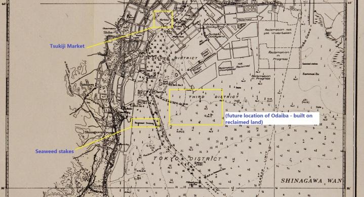 Tokyo waterfront map 1923-24 1936 odaiba