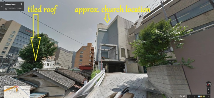 Shibuya hill Black Sun view of church 2015