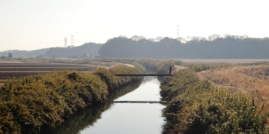 east of Yukarigaoka canal winter sun