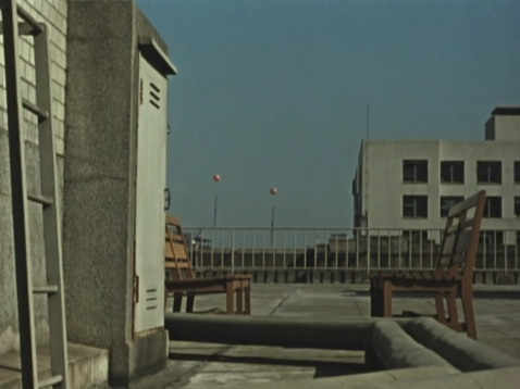 "Advertising balloons seen from a Tokyo rooftop in Ozu's film ""Late Autumn"" (1960)."