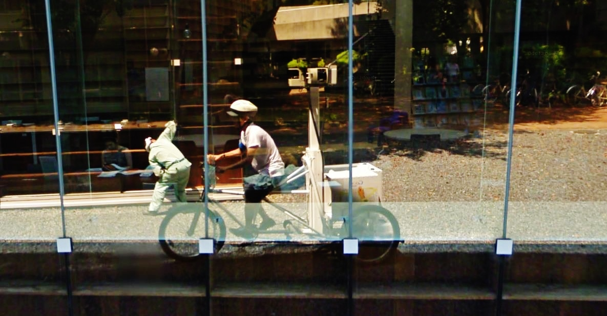 musashino art university library sou fujimoto google streetview bike