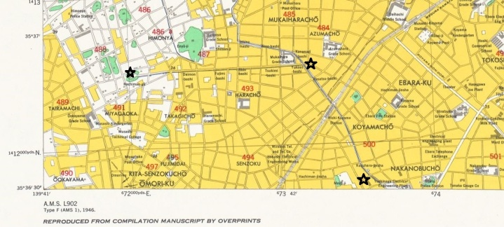 1948 Tokyo Map rivers (1 - Hachiman-gu)