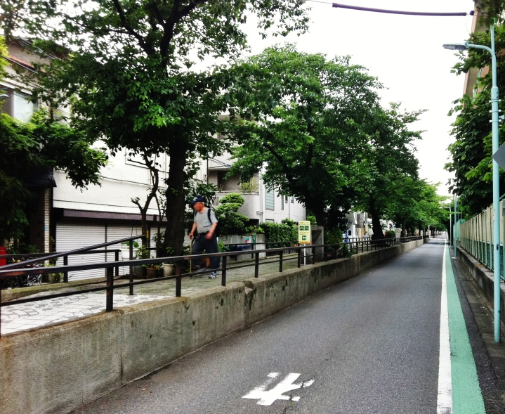 Raised walking path of the former Tachiaigawa river, now a green road in Meguro-ku, Tokyo.