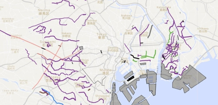 Tokyo underground water map river reclaimed land