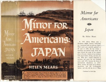 "Dust jacket for ""Mirror for Americans: Japan"", by Helen Mears."