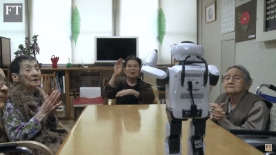 Robot dance class elderly Japanese