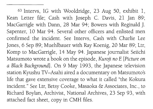 "Citations related to the Kokura Incident in the book ""Black Soldier, White Army"""