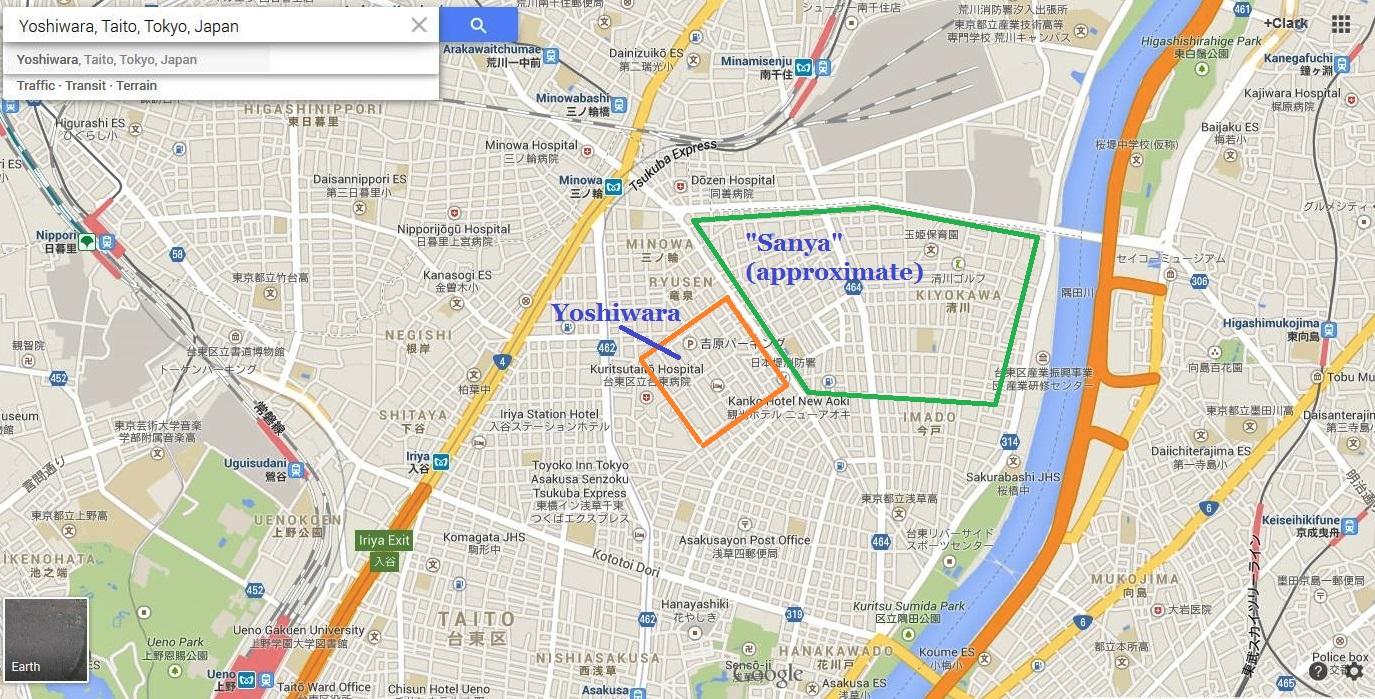 Tokyo Yoshiwara Senzoku Sanya 2013 North Asakusa map the tokyo