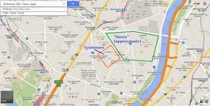 Tokyo Yoshiwara Senzoku Sanya map