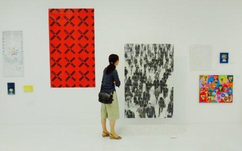 woman looks at art 3331 Arts Chiyoda Tokyo