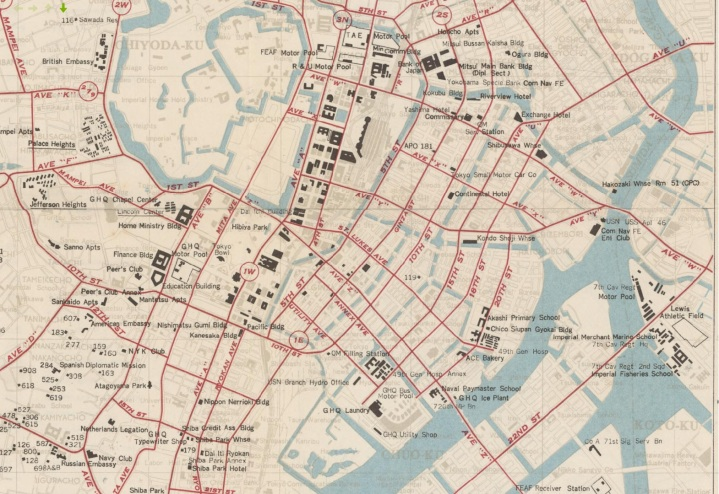 Map of central Tokyo 1948