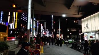 Shinbashi bridge Ginza light posts night Tokyo