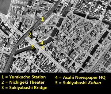 Yurakucho Sukiyabashi Tokyo aerial photo 1945