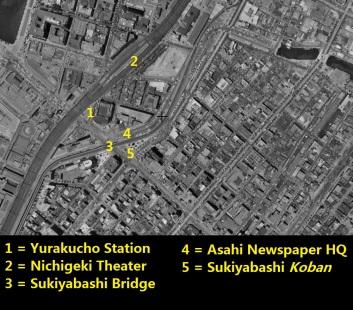 Yurakucho Sukiyabashi Tokyo aerial photo 1961-1969